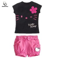Wholesale Cute Baby Boy Pajamas - Wholesale- Retail 2017 children girls clothing set Summer hello kitty cute pajamas costume baby kids child cartoon clothes sets suits