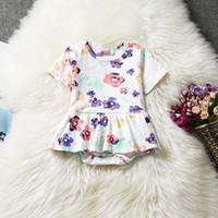 Wholesale Soft Cotton Baby Dresses - Baby Girl Romper Cotton Dresses Jumpsuit Flower Pattern Short Sleeve Tutu Skirt Soft Baby Girls Clothes