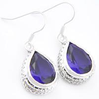 Wholesale Swiss Blue Topaz - Free shipping -- Wholeasle Handamde 925 Sterling Silver jewelry Swiss blue topaz earrings jewelry CE0483