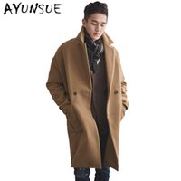 Wholesale Double Breasted Coat Camel - Wholesale- Camel Mens Coat Double Breasted Mens Coats Overcoats Turn-Down Collar Medium Long Men's Winter Jacket Trench Coat Men WUJ1171