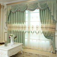 Wholesale Green Blackout Curtains - New Arrival Chenille Western Curtain Jacquard Weave Window Shades Living Room Bedroom Light Green Hollow Design Embroidery Curtains #Cloth