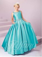 sıcak genç kızlar toptan satış-Sıcak Satış Kızlar Pageant Çocuk Resmi Giyim Elbiseler Kristaller Boncuklu Prenses Kat Uzunluk Doğum Günü Elbisesi Lace Up Çiçek Kız Elbise Gençler Giymek