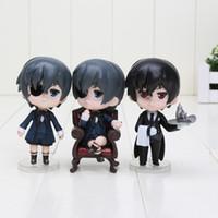 anime oyuncakları siyah kahya toptan satış-3 adet / takım Anime 9 CM Siyah Butler Kuroshitsuji Ciel Q Baskı PVC Action Figure Koleksiyon Oyuncaklar Çocuk Oyuncakları