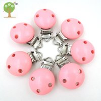 Wholesale Baby Pink Paint - Wholesale-Wholesale princess baby pink color painted Wooden Pacifier Clips Round soother clasp teething accessory smooth EA217