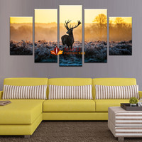 Wholesale Discounted Abstract Wall Art - 5 panels Abstract Deer Modern Home Wall Decor Animal Painting Printed On Canvas large canvas art discount canvas wall art