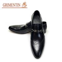 Wholesale wingtips shoes men - GRIMENTIN Hot sale oxfords mens leather shoes dress UK fashion vintage wingtip slip on shoes men wedding party size:38-44 A610