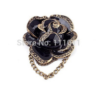 Wholesale L Brooch - Wholesale- New arriva 2016 l! Europe& America Fashion Delicate Black Rose rhinestone brooches for women Free Shipping SPX0226