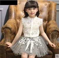 Sommer Mädchen Kleidung Set White Lace Hollowed Out Shirt mit Tutu Rock Baby Kinder Outfits Casual Kinder Set