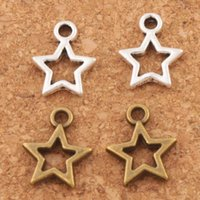 Wholesale Diy Jewelry Spacer - Open Star Spacer Charm Beads Pendants 500Pcs lot Antique Silver Bronze Alloy Handmade Jewelry DIY L138 9.8x12mm