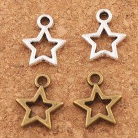 Open Star Spacer Charm Beads Pendants 500Pcs / lot Antique Argent / Bronze Alliage Bijoux faits à la main DIY L138 9.8x12mm