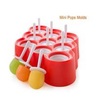 silikon mini toplar toptan satış-Buz Lolly Kalıp Silikon Mini Buz Pops Kalıp Dondurma Topu Lolly Maker Popsicle Kalıpları 9 Kavite DIY Mutfak Araçları Ile