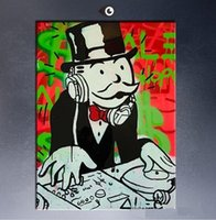 Wholesale Music Canvas Painting - Framed music DJ Alec monopoly wall street art,High Quality Handpainted Modern Graffiti Pop Wall Art Oil Painting on Canvas Multi sizes TY115