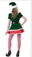 Wholesale Santa Costumes Woman - 2016New Sexy Elf Little Helper Christmas Santa Mrs Claus Fancy Dress Costume Xmas Outfit Cosplay with hat belt one size S-L