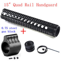"Wholesale Gas Quad - .223 5.56 15 ""12"" Free Float Quad Rail Handguard One Piece Ar15 Handguard Picatinny Rail With .075 Steel Gas Block"