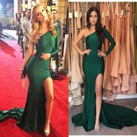 Wholesale Spandex Zipper Front - Hot Emerald Green Sexy Split Evening Dresses 2017 Mermaid Stretch Satin Long Sleeves One Shoulder Prom Dresses Long Party Celebrity Gowns