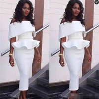 Wholesale White Plus Size Peplum Dresses - 2017 South African Off The Shoulder Prom Dresses Tea Length Peplum Ruffles Mermaid Evening Gowns Sleeves Back Zipper Black Girls Party Dress