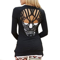 Wholesale Wholesale Women S Cut Out - Wholesale- 2016 Fashion Women's Casual Jacket Jumper Tops Long Sleeve Sexy T Shirt Back Skull Cut Out Shirt KJ2