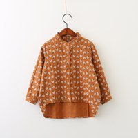 Fashion orange western shirts - Everweekend Girls Floral Print Blouses Cute Baby Button Orange Color Shirts Sweet Kids Western Korean Fashion Autumn Clothes
