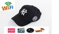 Wholesale cap network - 1080P HD Wearable WIFI Cap IP Camera Portable Hat video Camera DVR Camcoder wireless Network Wearable Cap IP P2P DVR