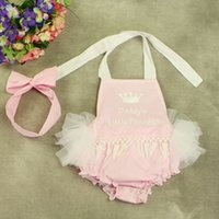 Wholesale Diaper Headband - 2017 NEW baby girl toddler 2piece set outfits Lace tassels Cotton romper onesies diaper covers + bowknot headband - Daddy's Little Princess