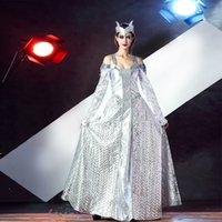 Wholesale Greek Costume Women - The Ancient Greek Goddess Role Play The Clothing Stage Clothing Silver Gown Queen Of The Greek
