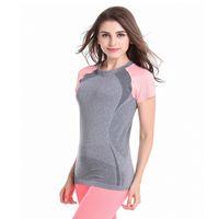 Wholesale Yoga Shirts Women - Fitness high elastic yoga running gymnastics quick - moving sports short - sleeved T - shirt