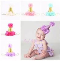 Wholesale Hair Flowers For Kids - Baby flower crown headbands for girls gold crown hairband kids diy hair accessories birthday princess Headbands newborn photography props