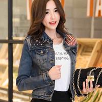 Wholesale flag denim jacket - Wholesale- 2016 Spring Autumn Plus size Vintage Women Long Sleeve Coat Korean American flag Denim Short Casual Jean Jacket Outerwear 730