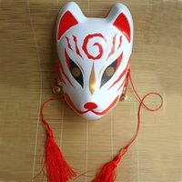 Wholesale Japanese Masquerade Masks - Hand -Painted Fox Mask Endulge Japanese Full Face Pvc Halloween Animal Mask Masquerade Cosplay Party Masks Free Shipping