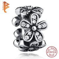 Wholesale Silver 925 Spacer Bead - BELAWANG European Flower Spacer Beads Cubic Zirconia Charms Fit Original Bracelet 925 Sterling Silver Jewelry Fit Pandora Bracelet Making