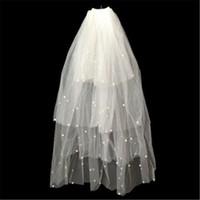 Wholesale Paloma Blanca Veils - New Romantic Cheap Wedding Veils Paloma Blanca Ivory White Bridal Veils 2 Layer Hard Pearl Yarn