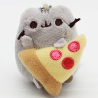 "Wholesale Cat Cartoon Movies - 3 ""Cartoon Pusheen Cat Plush Toys Pusheen With Food Style Plush Pendant Key Chain Soft Stuffed Animals Toys For Kids Children 2017"