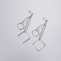 Wholesale Unique Earrings Studs - Unique Design Hollow Cubic Link Earring Stud Woman Fashion Minimal Geometry Copper Earring Imitation Rhodium Bohemia Earing