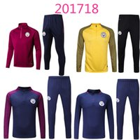 Wholesale Men Sports Suits - new 2017 2018 Thai quality Kun Aguero survetement football tracksuits training suits 16 17 man city soccer jacket Long pants sports wear