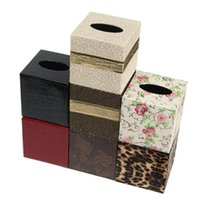 Seat Type square tissue box - Hot House PU Leather Tissue Box Case Cover Square Elegant Tissue Case Bathroom Paper Napkin Holder Home Office Car Decoration