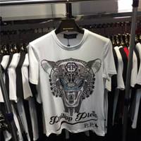 Wholesale Leopard Print Mens Tees - 2017 New Summer Men's PP Print 100% Cotton Shirts Mens qp leopard T-shirts Tee Shirt with plus M-3XL size