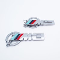 Wholesale Bmw Series Accessories - Car Styling Metal M3 M5 Keychain Double Side Car Badge Emblem Logo Key Ring For BMW VW M series Key Holder Keyfob Accessories