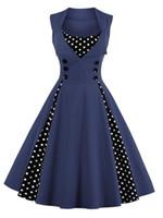 Wholesale Wholesale Wear Work Clothing - Vintage dot plus size woman clothing Summer dresses for womens fashion stitching Slim sleeveless high quality Skirt dresses 1090