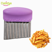 Wholesale wave cutter - Delidge 10 pc Wave Potato Cutter Stainless Steel Potato Chip Dough Vegetable Crinkle Wavy Cutter High Quality Fruits Slicer