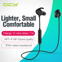 Wholesale Bluetooth Aptx - 100% Original QCY IPX4-rated sweatproof headphones bluetooth 4.1 wireless sports earphones aptx stereo headset with MIC for iphone samsung