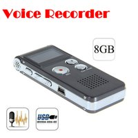 Wholesale Free Dictaphone - Wholesale- by dhl or ems 10 pieces Rechargeable 8GB 8G USB VOR 650Hr Digital Audio Voice Recorder Dictaphone MP3 Player Free shipping