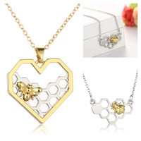 Wholesale Honeycomb Necklace - 2017 Women Bee Necklace Heart Gold Silver Color Honeycomb Bee Animal Hollow heart Pendant 45cm Jewelry Party Prom Gift