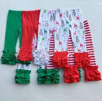 Wholesale Tighter Waist Ruffles - Thanksgiving Halloween Christmas girls stripe ruffle pants Baby Warmer Leggings Tights kids Trousers cotton Pants 31 colors