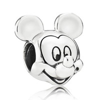 Silver cartoon spike - Authentic Sterling Silver Bead Charm Cute Cartoon Mouse Portrait Beads Fit Women Pandora Bracelet Bangle Diy Jewelry HKA3562