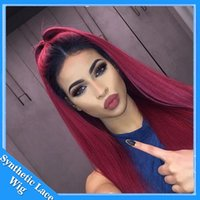 Wholesale Red Black Cosplay Wig - twoTone ombre black to dark red burgundy Bug 99J color Silky straight swiss lace Wigs heat resistant synthetic lace front wig Cosplay wigs