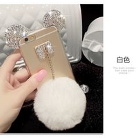 Étui Pour Iphone Diamond Bow Pas Cher-Pour Samsung galaxy s5 s6 s7 s8 edge plus Bijoux Pretty Cute Diamond Fur Bow Pompom soft Case