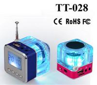 Wholesale Speaker Portalble - Nizhi TT-028 LED Mini Speaker Crystal Display Portalble TT028 Loud Subwoofer Music MP3 Player Support TF Card USB with FM Radio