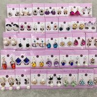 14k schwarze perlenohrringe großhandel-Neue beste Diamant-Bolzen-Tropfen-Ohrringe, die Kronprinzessin Dangle Silver Gold Pearl Opal Trendy schwarze Ohrringe Valentine Gift Free DHL Wedding sind