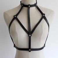 ingrosso donne di schiavitù indossano lingerie-New sexy Goth Lingerie Elastic Harness reggiseno cage lingerie Bondage pelle Imbracatura cintura per accessori donna