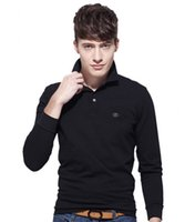 Wholesale Fish T Shirt L - 2017 New Men Polo Shirt men's fish lapel long sleeve polo shirt Summer Casual t shirt
